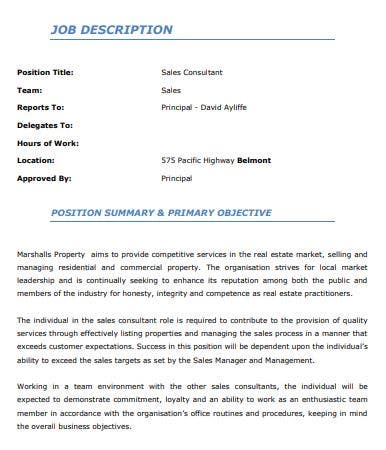 corporate property sales consultant job description template