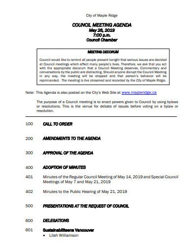 council meeting agenda template