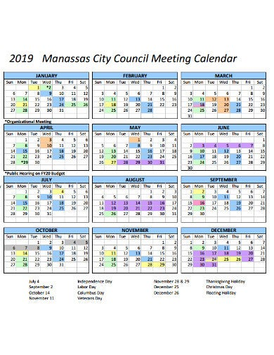 council meeting calendar template