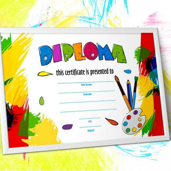 crayon kindergarten diploma certificate template