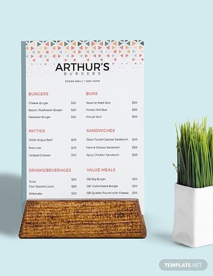 creative burger menu download