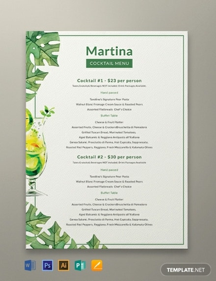 creative cocktail drinks menu layout