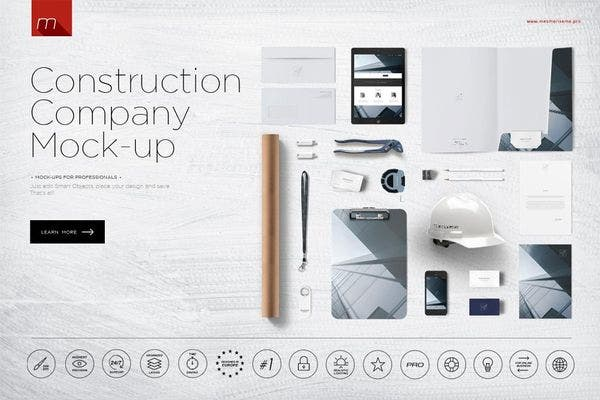 Creative Construction Company Branding Mockup