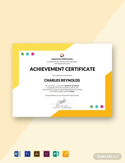creative preschool internship certificate layout