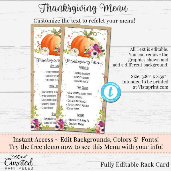 creative thanksgiving menu template
