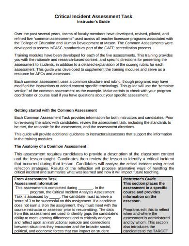 critical incident assessment task template1