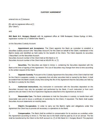 custody agreement example