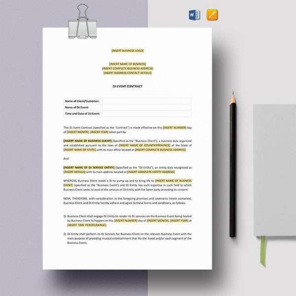 dj concert event contract template