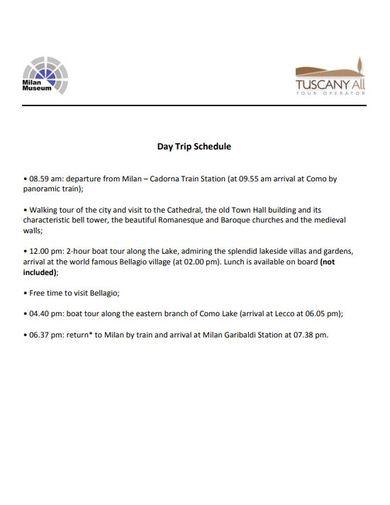 day trip schedule format