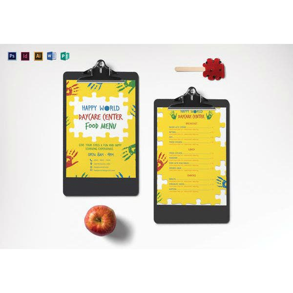 7  preschool menu templates