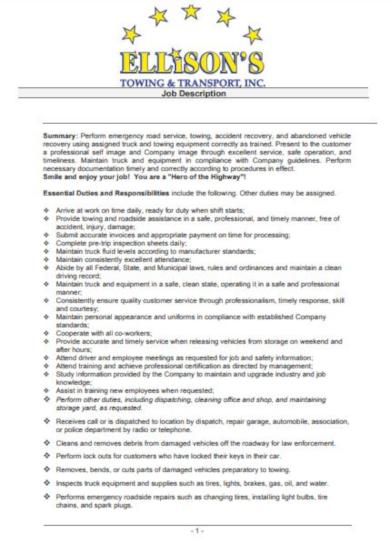 detailed driver job description template