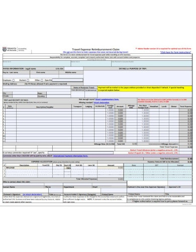 detailed travel reimbursement form template
