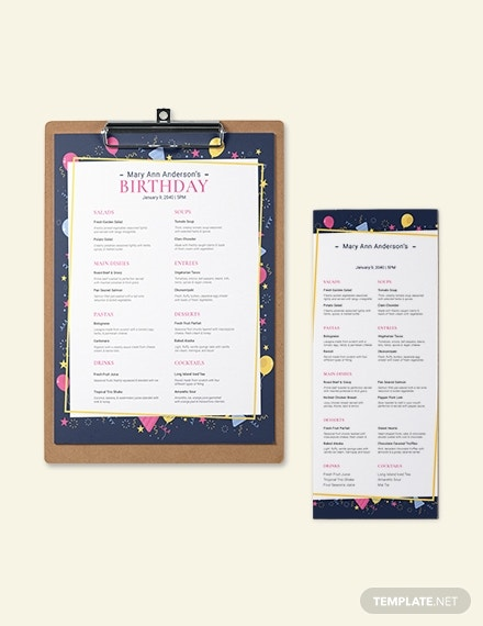 dinner birthday celebration menu example
