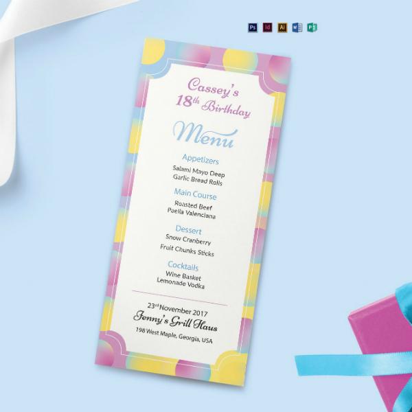 dinner birthday event menu template