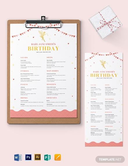 disney birthday menu template