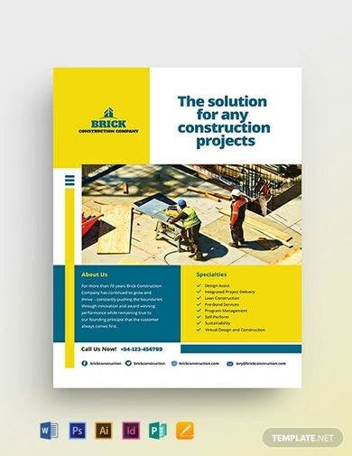 downloadable commercial construction flyer template