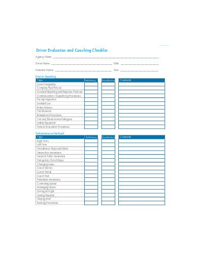 driver evaluation and coaching checklist