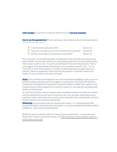 economic evaluation checklist template