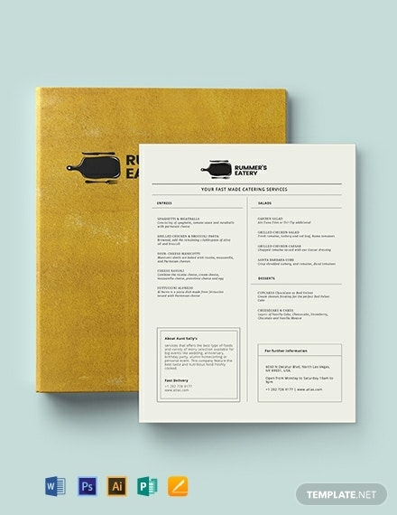 editable birthday dinner menu layout