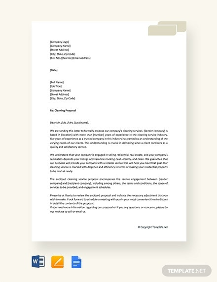 editable cleaning proposal letter template