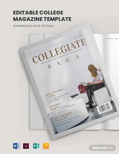 editable college magazine template