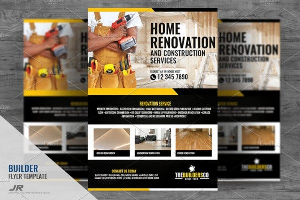 editable construction and builder flyer template