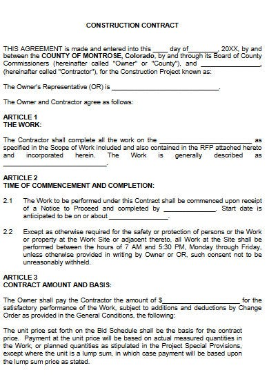 editable construction contract agreement