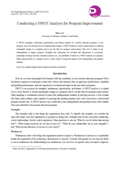 editable education swot analysis template