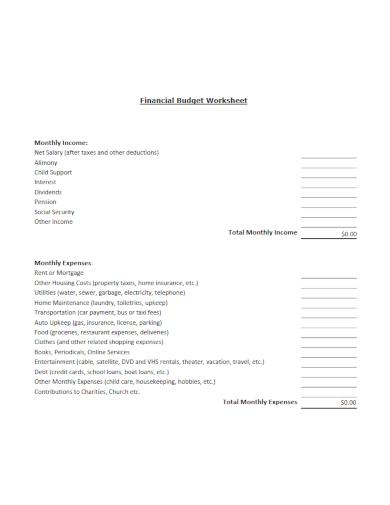 editable financial budget
