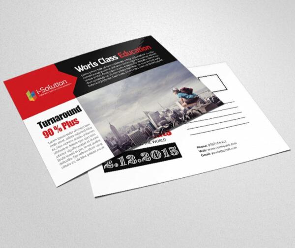 editable financial services postcard template