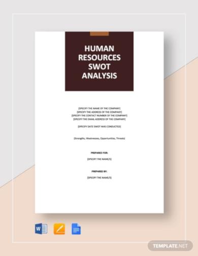 editable hr swot analysis template