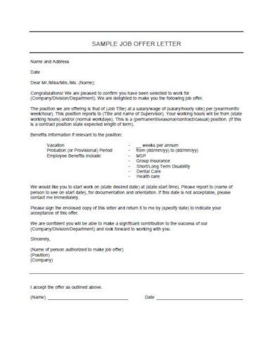 editable job offer letter template