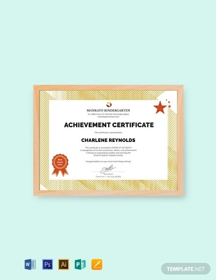 editable kindergarten certificate of achievement format