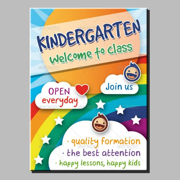 editable layered kindergarten flyer example