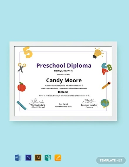 editable preschool diploma certificate sample