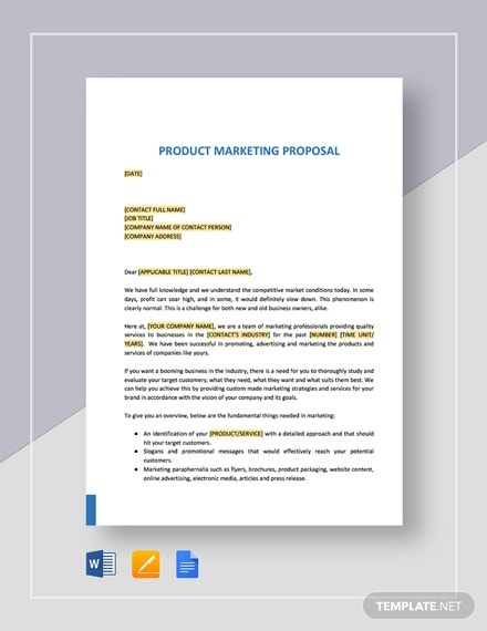 editable product marketing proposal sample