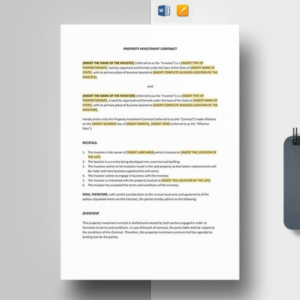 editable property investment contract sample