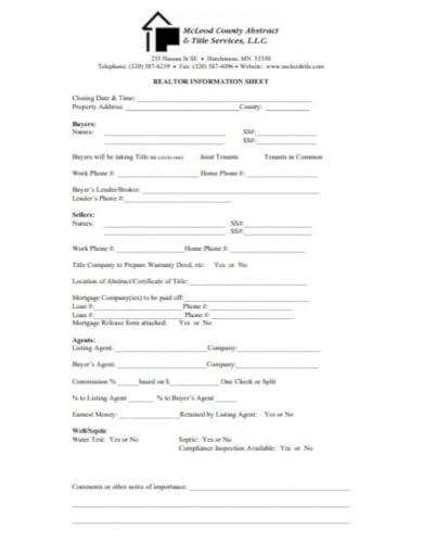 editable real estate listing sheet