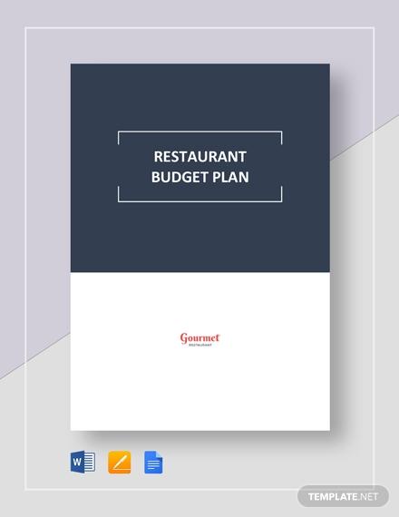 editable restaurant budget plan layout