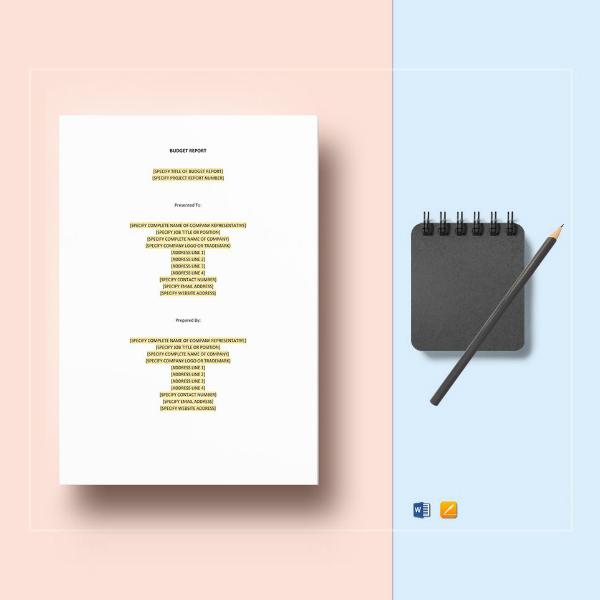 editable restaurant budget report template