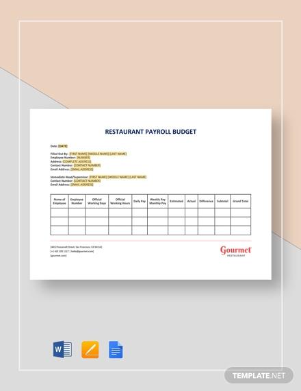 editable restaurant payroll budget sample