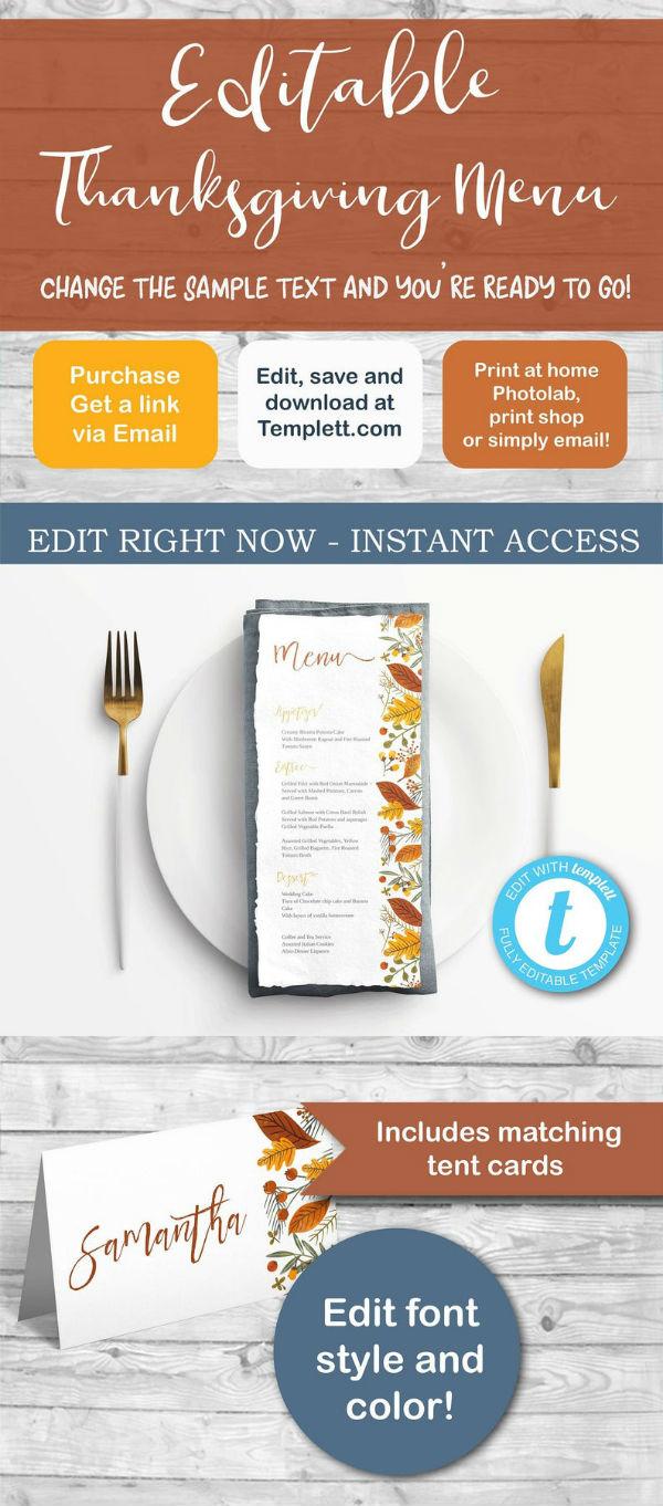 editable thanksgiving menu template