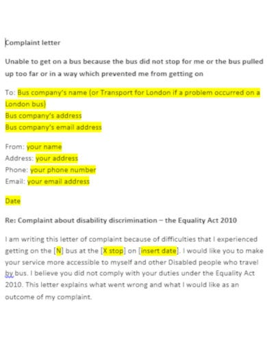 editable travel complaint letter