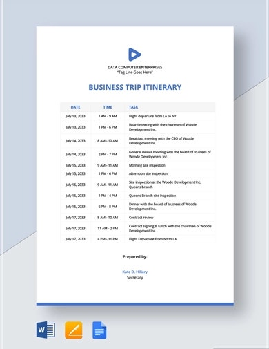 editable travel itinerary template
