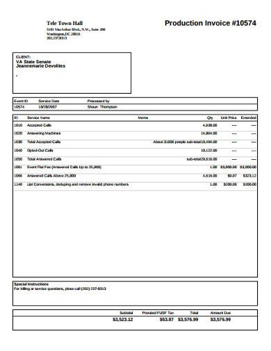 effective production invoice example