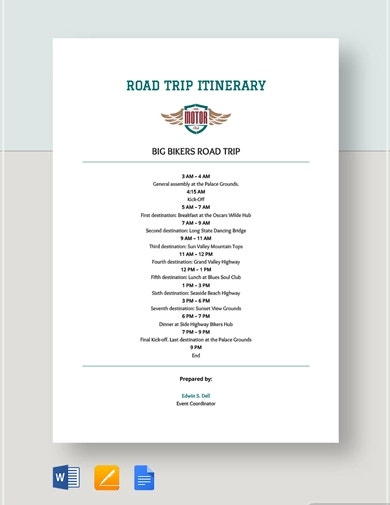 effective travel itinerary template