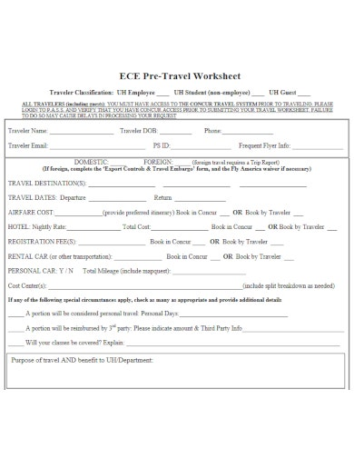 effective travel worksheet template