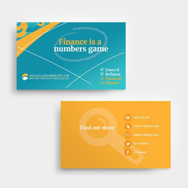 Electronic Finance Business Card Example