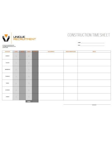 elegant construction timesheet template