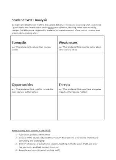 elegant education swot analysis template
